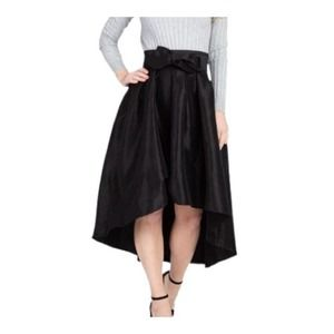 Black Pleated Bow waisted -High Low Skirt